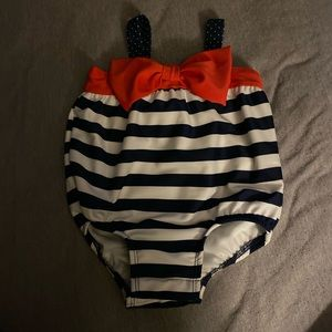 Bathing suit navy and white stripe with red bow